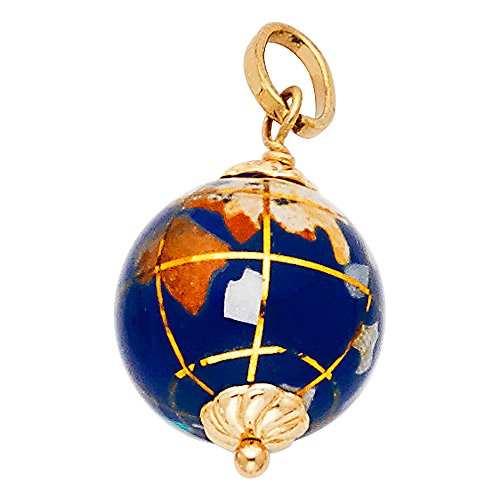 Ioka Jewelry - 14K Yellow Gold Blue Earth Globe Enamel Charm Pendant For Necklace or Chain 14k Gold Globe Charm