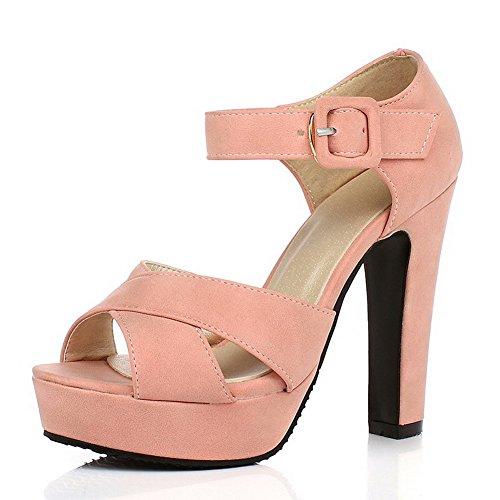 VogueZone009 Damen Hoher Absatz Offener Zehe Schnalle Sandalen mit Hohem Absatz Pink