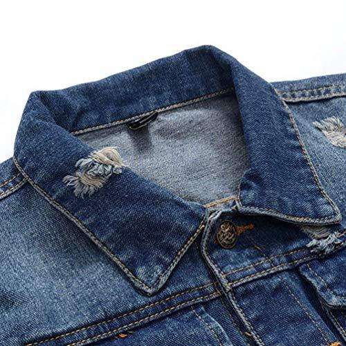 Cappotto Giacca Jeans Vintage Classica Denim Als Effetto Distrutto Libero Fit Tempo Moda Di Strappato Bild Uomo Risvolto Slim RnqXXE