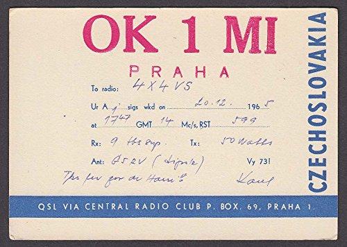 Czechoslovakia Glass - OK1MI Prague Czechoslovakia Bohemian Glass QSL Ham Radio postcard 1965