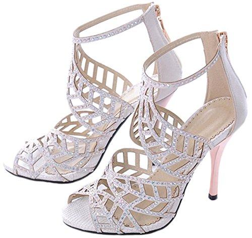 Reinhar High Heel Sandals Toe Strappy Sandals Party Pumps Evening Dress Shoe White9 B(M) US (Party Store Burlington Vt)