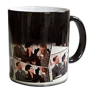 RitzPIx Magic Photo Mug Customizable White Ceramic with a Single Horizontal Image Tiled around the Mug. Mug is Black until you add Hot Liquid. Perfect Personalized Gift - 11oz.