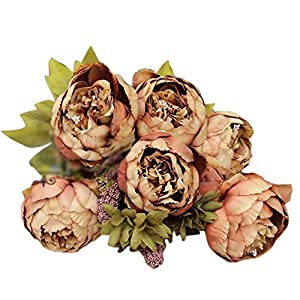 Wffo 1Bouquet 8 Heads Artificial Peony Silk Flower, Leaf Home Wedding Party Decor 29
