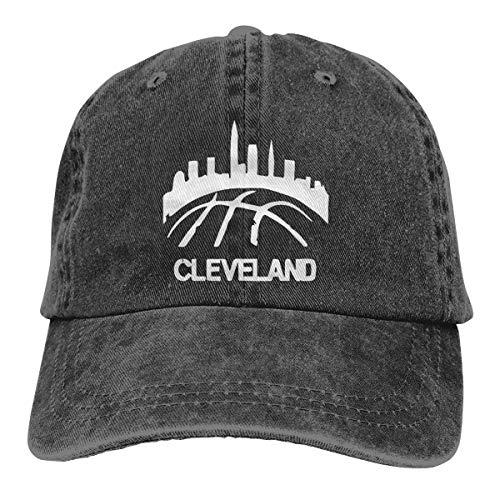 (BESTHAT Old Cleveland Basketball Skyline Adjustable Men Women Baseball Cap Washed Cotton Plain Hat)