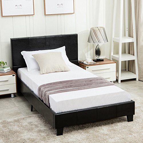 Dehors Sun Full Size Platform Bed Metal Square Frame Upholstered Headboard Stitched Button Wooden Slats not Support Mattress Black