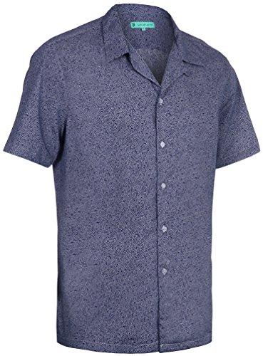 iian Shirt - Funky Floral Shirt for Men - Short Sleeve Aloha Shirt - Independence Blue - Medium ()