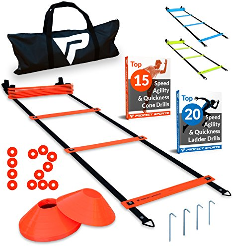 Pro Agility Ladder and Cones - 15 ft Fixed-Rung Speed Ladder with 12 Disc Cones for Soccer, Football, Sports Training - Includes Heavy Duty Carry Bag, 4 Metal Stakes, 2 Agility Drills eBooks (Orange) - Football Drills Running Backs