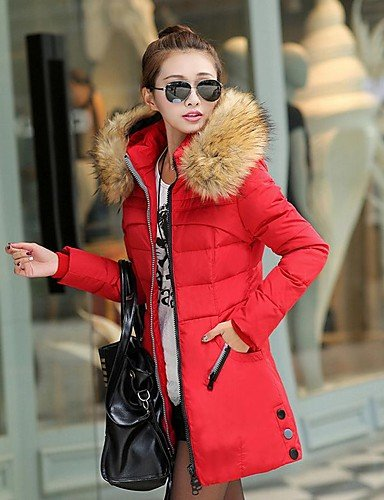 Padded 3XL Street Long Women's Black Hooded Green Red Sleeve Coat chic Solid YRF qZ1ARTwT