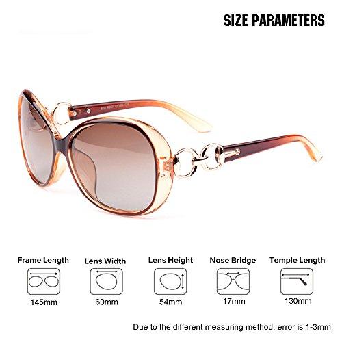 VeBrellen Luxury Transparent Women's Polarized Sunglasses Retro Eyewear Oversized Square Frame Goggles Eyeglasses (Transport Frame With Dark Brown Lens, 60) by VeBrellen (Image #5)