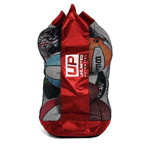 Unlimited Potential Mesh Equipment Bag - Ball Bag - Soccer - Football - Basketball - Adjustable, Sliding Drawstring Cord Closure (Red, Large 12-16 Balls)