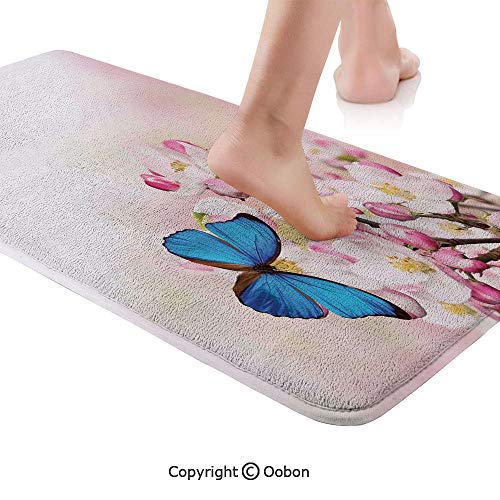 Modern Rug Runner,Blue Butterfly on Spring Cherry Blossoms Japanese Flower White Pink Orchard Nature,Plush Door Carpet Floor Kitchen Decor Mat with Non Slip Backing,48 X 17.7 Inches,Blue Pastel Pink ()