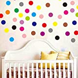 Set of 102 Polka Dot Vinyl Circles Dots Wall art Decor Decals Removable DIY Home Decoration art Graphic Decals Nursery room Stickers Just Peel and Stick 15 Colors for Bedroom Living room Bathroom