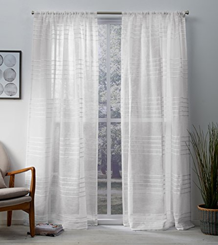 Exclusive Home Curtains Monet Pleated Sheer Linen Cabana Stripe Window Curtain Panel Pair with Rod Pocket, 54x108, Winter White, 2 Piece