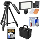 Sony VCT-VPR1 57'' Video Remote Control Tripod with 3-Way Pan/Tilt Head & Case with LED Video Light + Waterproof Hard Case + Kit