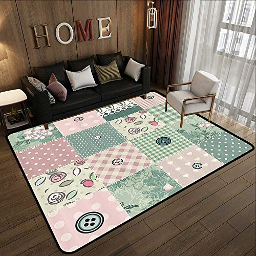 Silky Smooth Bedroom Mats,Farmhouse Decor,Shabby Pastel Patchwork with Button and Kitsch Polka Dots Composed Print,Pink Green 78.7