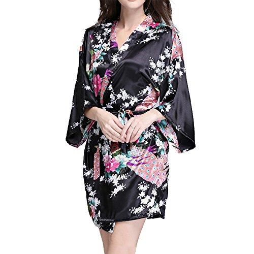 VILLAVIVI Vestido Párrafo Corto Mujer Kimono Pavo Flores Satén Albornoces Pijamas Negro