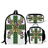 School Lunch Pen Bags,Celtic,Celtic Knot Design Christian Cross Icon Wreath Flowers Retro Floral Welsh Pattern,Mustard Green,Personalized Print