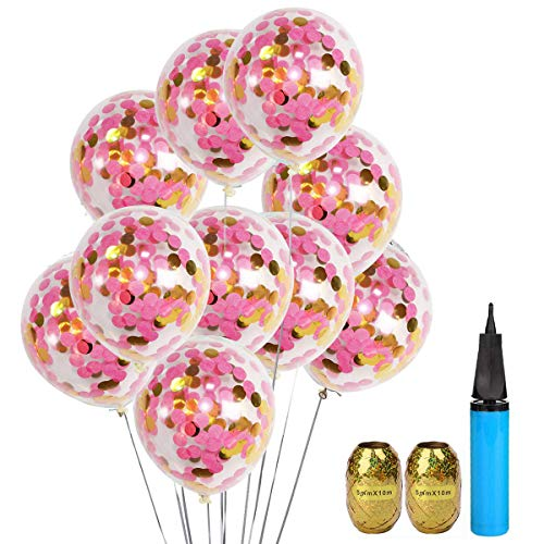 Pink Balloons Hot Latex - 20 Pack Bridal Shower Confetti Balloons Hot Pink and Gold, 12 Inch Clear Latex Party Balloon with Confetti Inside for Wedding Bday Confession Engagement Valentines Decorations with Air Pump and Ribbon
