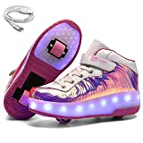 Ehauuo Kids USB Charging LED Light up Shoes with Wheels Retractable Roller Skates Shoes Roller Sneakers for Unisex Girls Boys Beginners Gift(1.5 M US Little Kid, E-Pink)