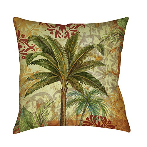 Single Piece Red Green Gold Thumbprintz Palm Tropical Throw Pillow, 18 Inch, Graphic Print Pattern, Accent Type, Polyester Material, Eco-Friendly, Spot Clean Care Instructions, Perfect Focal Point
