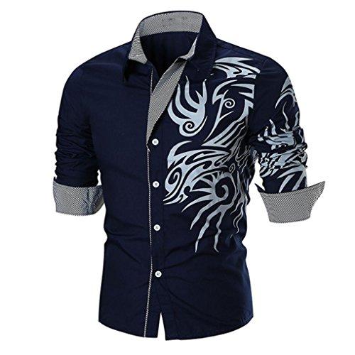 kaifongfu Men Shirt,Clearance Personality Slim Print Long Sleeve Shirt Top Men Blouse(Navy,2XL) by kaifongfu-mens clothes