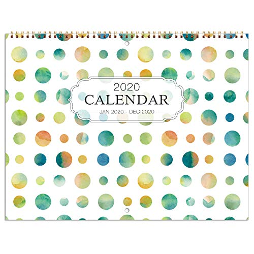 Calendar With Pockets (2020 Wall Calendar - Wall Calendar 2020 Monthly Calendar with Inner Pocket and Pen Loop,Large Ruled Blocks, 22.9