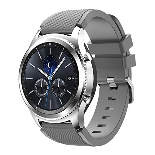 Compatible for Samsung Galaxy Watch Band 46mm, Gear S3 Band Silicone Strap Sport Wristband Replacement Band for Samsung Gear S3 Frontier/Gear S3 Classic Watch Band Bracelet Accessory (Gray) by Flyeagle168 (Image #3)