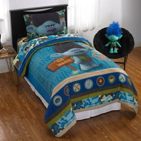 Trolls Branch 6 Piece Full Comforter Bedding Set with Bonus Stickers