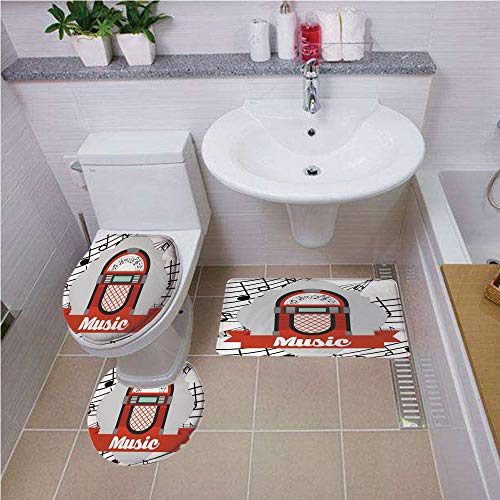 Bath mat Set Round-Shaped Toilet Mat Area Rug Toilet Lid Covers 3PCS,Jukebox,Old Vintage Music Radio Box Cartoon Image with Notes Artwork Print,Red Grey Black and White,Bath mat Set Round-Shaped Toil -
