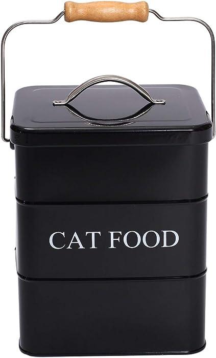 Geyecete Cat Treats tin and cat Food Storage Tin with Lid & with Spoon for cat Food Storage, Medium Pet Food Storage Can-Cat Food-Black