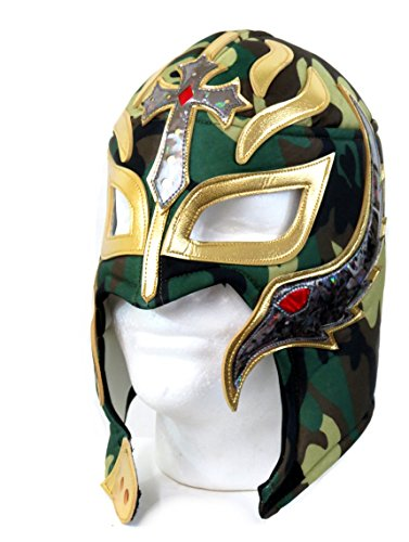 [Rey Mysterio Youth Lucha Libre Wrestling Mask (Pro-fit) Costume Wear - Camo] (Wwe Wrestling Costumes For Adults)
