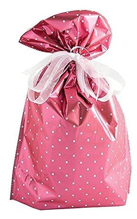 Giftmate X6 Wine Bag Pink Polka Dot Drawstring Gift Wrapping