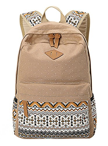 KISS GOLD(TM) Canvas Backpack Shoulder Bag Laptop Bag Super Cute Schoolbag for Women Teen Young Girls (Khaki) from KISS GOLD