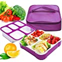 Fun Life Leak Proof Bento Lunch box with 5 Portion Control Compartments