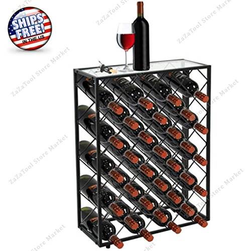 ZaZaTool - 32 Bottle Metal Wine Rack with Glass Table Top Black Storage Liquor Cabinet