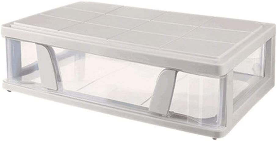 QWER Underbed Organizer Set, Plastic Stackable Drawer Storage Box Under The Bed, Closet Shelf Storage Bins, Great for, Clothes