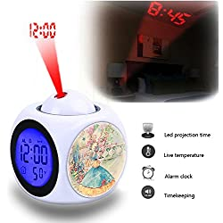 Projection Alarm Clock Wake Up Bedroom with Data and Temperature Display Talking Function, LED Wall/Ceiling Projection,Customize the pattern-809.Vintage, Collage, Drawing, Lady, Dress, Flowers