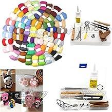 AngelaKerry 50 Colors 5g/color Fibre Merino Wool for Needle Felting + 1 Box Needle Felting Starter Kit (Include Foam Pad, Felting Needle, Wooden Felting Tool, Awl, Seam Ripper, Scissors, Glue Stick, Finger Cots, Adhesive, Keyring, Glass Eyes for Dolls, Needle Pipe, Strip, Box)