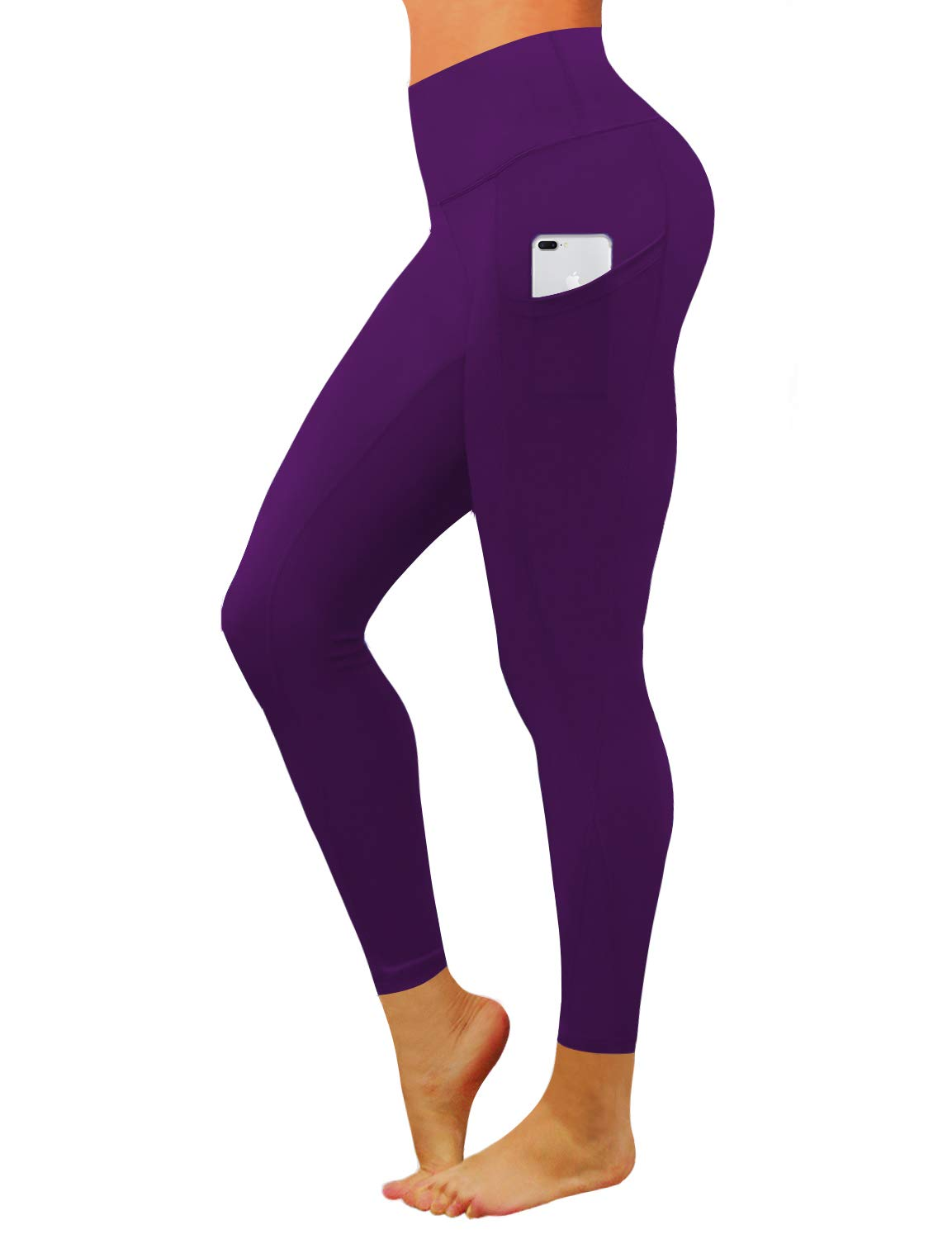 BUBBLELIME High Compression Yoga Pants Out Pocket Running Pants High Waist Moisture Wicking Workout Leggings, Bwwb010 Eggplantpurple, X-Small