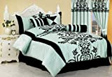 Chezmoi Collection 7-Piece Aqua with Blue and Black Floral Flocking Bed-in-a-Bag Comforter Set, Queen