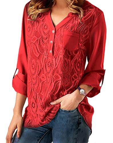iooho Womens Casual Long Sleeve Solid Cuffed Button Floral Lace Chiffon Blouses Top(Red,M) ()