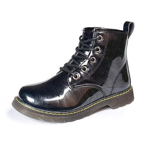 Zapatos de Invierno para niños Niños Niñas Martin Botas Moda Cuero Brillante Impermeable Antideslizante Caucho Caliente Felpa Niños Botines: Amazon.es: ...
