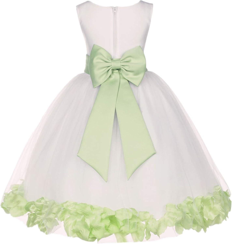 Ivory Flower Girl dress bow sash pageant petals wedding bridal children bridesmaid toddler elegant
