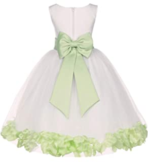 61acfb364e7 Wedding Pageant Flower Petals Girl Ivory Dress with Bow Tie Sash 302a