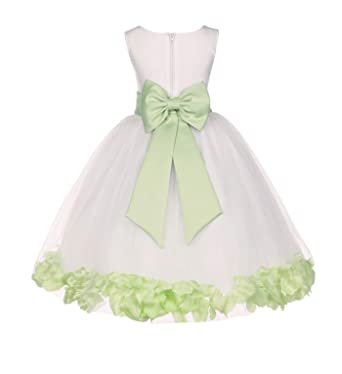 155ecc363 Amazon.com  Wedding Pageant Flower Petals Girl Ivory Dress with Bow ...