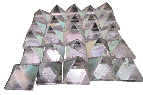WholesaleGemShop Beautiful Lot Of 10 Pieces Clear Crystal Quartz Gemstone Pyramids Crystal Reiki Vaastu Healing ()