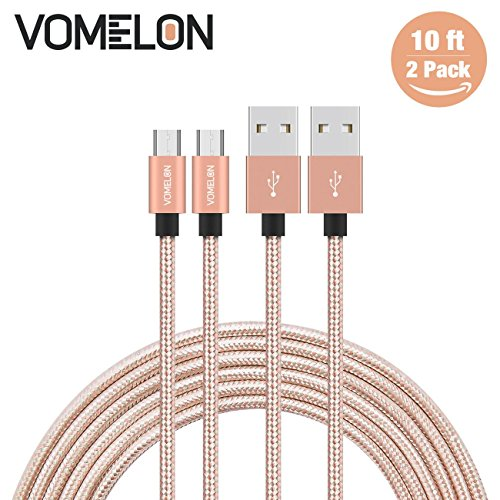 Micro USB Cable, 2Pack 10FT Nylon Braided Tangle-Free High Speed Charging Cord for Samsung, Nexus, LG, Motorola, Android Smartphones and More-[Golden+Silver]