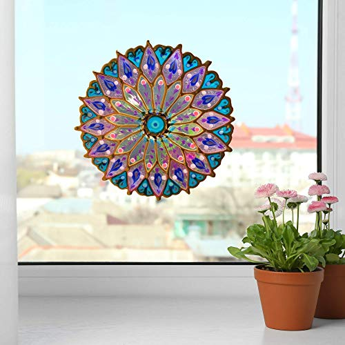 Handmade Mandala Decal Sticker for Window Decoration No Glue Removable 7 Inch Purple Blue Stained Glass look Repositionable suncatchers for window Artisan