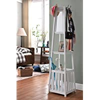 Kings Brand Furniture - Entryway Hall Tree Coat Rack Stand with Storage Shelf