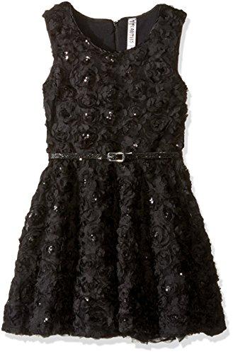 Beautees Big Girls' Sleeveless Rosette Skater Dress, Black, 8 (Sleeveless Rosette)